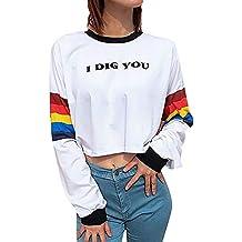 Yesmile Mujer Camisetas❤️Las Mujeres Camisa Sudadera con Estampado de Letras para Mujeres Blusa con