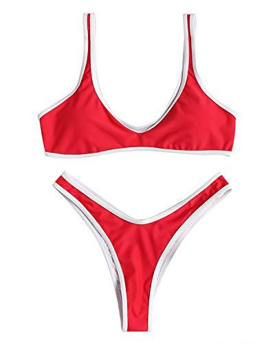 ZAFUL Bikini-Set U-Ausschnitt Kontrast Streifen gepolstert Bralette Swimsuit Swimwear Bademode Badeanzug Bikinis-Set Small Kirschrot