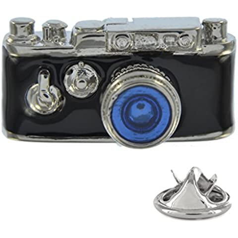 Hand Coloured fotocamera SLR Pin Badge in metallo