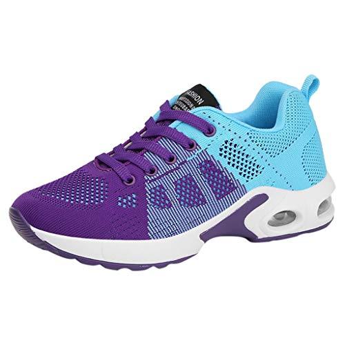 Damen Sportschuhe Leicht Atmungsaktiv Bequem Laufschuhe Air Cushion Turnschuhe Mode Laufsocken Freizeitschuhe rutschfeste Sneaker Anti-Rutsch Schuhe (EU:35, Lila)
