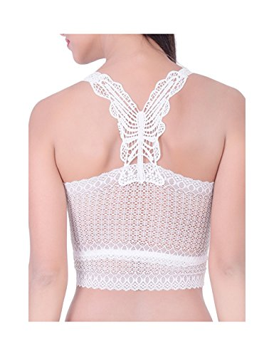 BJAC Women's Strap Bandage Wrapped Chest Crop Tops Tank Crop Top White (Non Padded) + one pair fancy earring free
