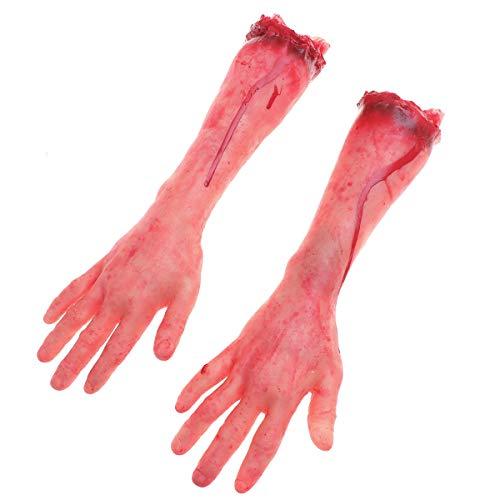 Das Kostüm Fenster Geheime - STOBOK 1 para Gefälschte Menschliche Blutige Hand Halloween Abgetrennt Arm Gebrochene Hand Hängen Terror Requisiten für Party Dekoration und Cosplay