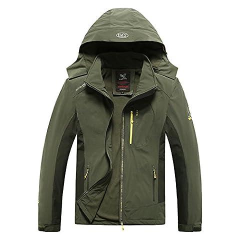 WALK-LEADER Mens Waterproof Mountain Climbing Fleece Jacket Windproof Outdoor Coat a/g 5xl
