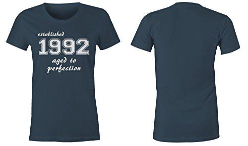 Established 1992 aged to perfection �?Rundhals-T-Shirt Frauen-Damen �?hochwertig bedruckt mit lustigem Spruch �?Die perfekte Geschenk-Idee (03) dunkelblau