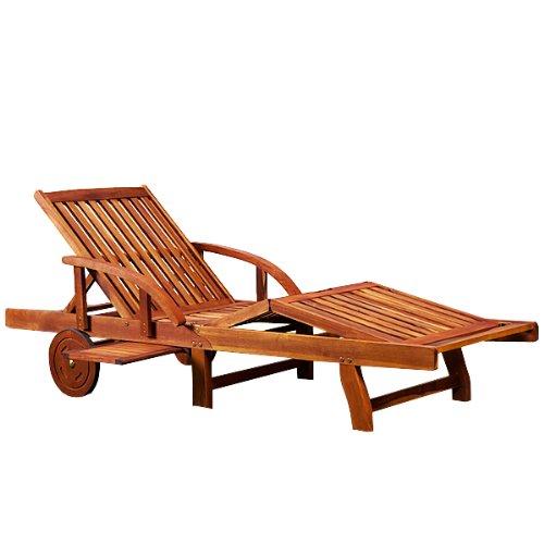 Sonnenliege Tami Sun | Akazien Holz verstellbar ausziehbarer Tisch klappbar | Gartenliege Holzliege...