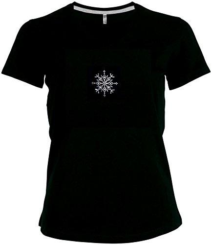 Fun Shirt Winterzeit grosse Schneeflocke Wintermotiv V-Ausschnitt Schwarz