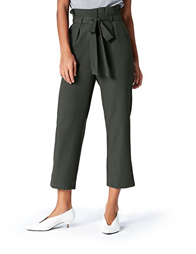 FIND Damen Paperbag Hose , Grün (Khaki), 46 (Herstellergröße: 3X-Large) (Khaki-hosen)