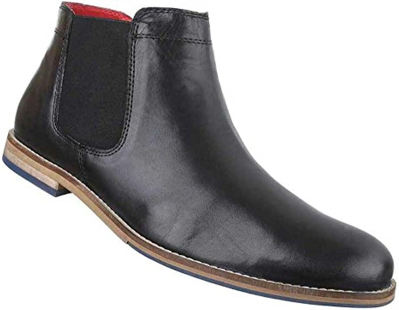 Herren Boots Schuhe Leder Stiefeletten Chelsea Schwarz