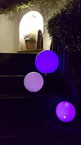 3 x LED Solarleuchte Gartenleuchte Kugelleuchte MARA mit Erdspieß Bodenleuchte Dekoration wahlweise umschaltbar zwischen LED kaltweiß und farbwechselnd (Durchmesser