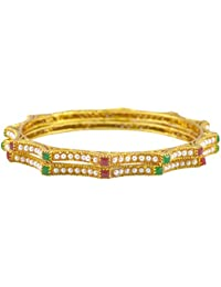 Rejewel Gold Plated Bangle With Red And Green CZ Stones Size 2.4