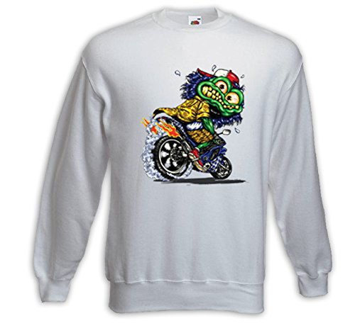 Biker Pullover Rat Rod Monster 2 weiß Vintage Rockabilly Comic V8 Weiß