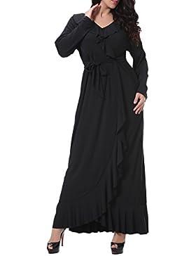 LUOEM Vestido Largo con volantes irregular retro de manga larga con cuello en V Talla 8XL (negro)