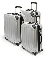 """Trolley Set Kofferset """"Kairo"""" 3-teilig leichte handliche Koffer silber 0204401"""