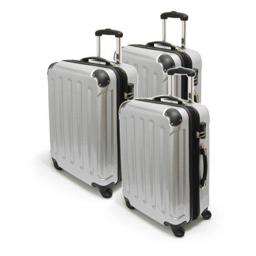 Trolley Set Kofferset 'Kairo' 3-teilig leichte handliche Koffer silber 0204401