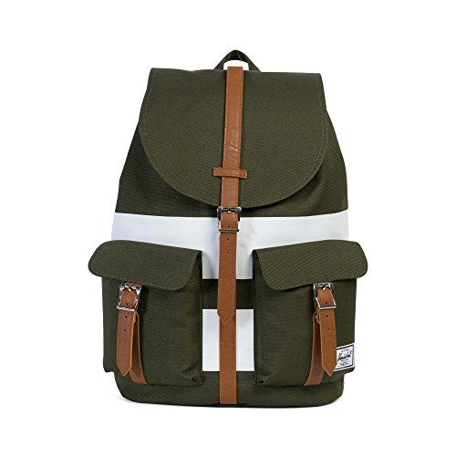 Herschel ,  Unisex Erwachsene Daypack, Forest Night/White Rugby Stripe/Tan Synthetic Leather (Grün) - 10233-01597-OS (Rugby Unisex Erwachsene)