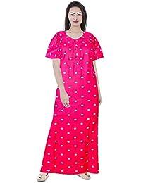 76ea6367500 jwf Women's Soft Cotton Nightwear Gown Nighties Sleepwear Maxi Dress  (MAX_046, Multicolour, Free