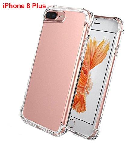 Fundas para tu iPhone 8/ 8 Plus Sannysis Ver Carcasa Case Absorción y Anti-Arañazos Borrar Espalda para iPhone 7 Plus 8 Plus HD Clara Transparente Gel TPU Funda de Silicona (5.5 inch iPhone 8 Plus)