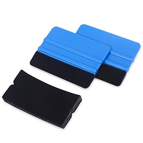 Preisvergleich Produktbild Winjun 2 Pack Blau Auto Rakel Filzkante Filzrakel Folienrakel Verkleberakel Kunststoffrakel Andrückrakel Kantenrakel mit 5 stück Rakelfilz für Autofolien Tönungsfolie Fensterfolien Lackschutzfolie