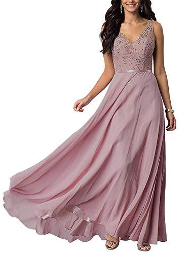 yinyyinhs Damen Spitze Chiffon Brautjungfern Kleider V-Ausschnitt Lange Formale Abendkleid Größe 32 Staubige Rose -