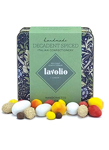 Lavolio William Morris Decadent Spiced Confectionery Gift Tin (175g) - Premium Selection of Covered Nuts, Coffee and Spices and Luxury Chocolate Sweets, Perfect Present for Him or Her