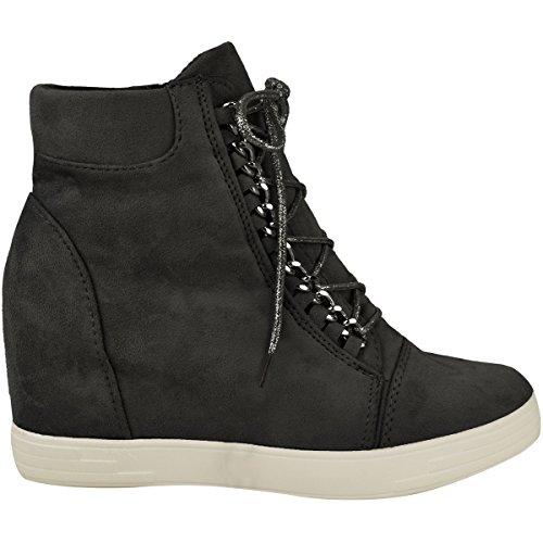 Damen High Top-Sneakers mit Keilabsatz - hoher Schaft & Schnürung Schwarz Veloursleder-Imitat