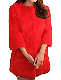 Helan Mujeres Bienes largo Rex Abrigo de piel de conejo