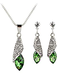 Gusspower Conjunto de Joyería de Mujer con Incrustaciones de Diamante, Collar y Pendientes para Mujeres