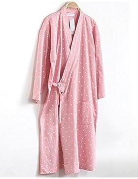Bearony Suave Pareja Bata de baño de algodón Bata de Dormir camisón (Color : Pink, tamaño : L)