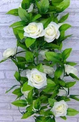 (Kunstrosen-Girlande für Valentinstag, Seidenblume, Ranke, Dekoration für zu Hause, Hochzeit oder Garten, Big-white)