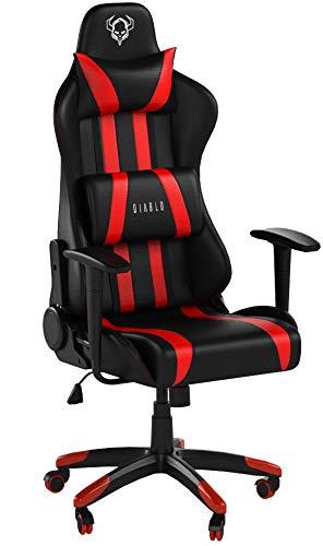 Diablo X-One Gaming Silla de Oficina Diseño Ergonomico Mecanismo de Inclinación Cojin Lumbar y Almohada Cuero Sintético (Negro-Rojo)