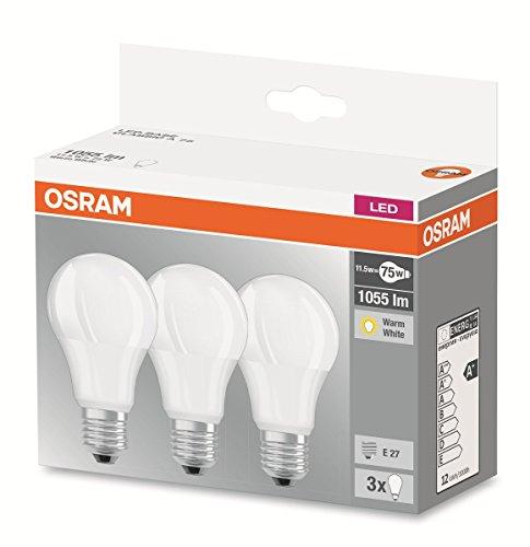 Osram Base Classic Lampada LED E27, 11.5W, Bianco, 3 Unità
