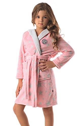 envie flauschiger Kinderbademantel / Kinder-Morgenmantel, mit Kapuze, rosa-grau, Gr. 146-152 (Bademäntel Mädchen)