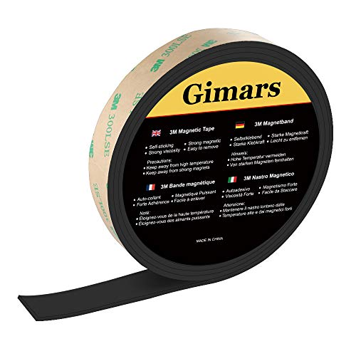 Gimars Magnetband, selbstklebendes Magnetisches Klebeband, Flexibel Schneidbar Magnetstreifen,Stark Magnetklebeband,Magnetstreifen für Schule & Präsentationen (Länge 3m, Breite 15mm)