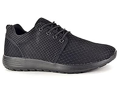 Ladies 816109 Galop Mesh Lace Up Trainers Lightweight Casual Comfort Sports Gym Running Shoes Size 3-8 (UK 3, Black)