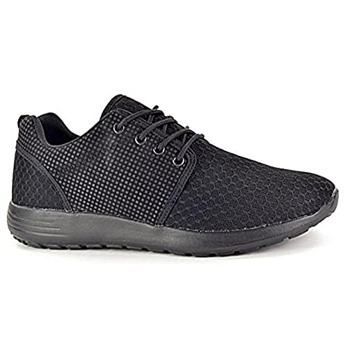 Mens 816109 Mesh Lace Up Trainers Lightweight Casual Comfort Sports Gym  Running Shoes Size 6-11 (UK 8, Black)