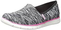 Skechers Kids Pureflex Slip On With Memory Foam (Little Kid/Big Kid), Black/White/Pink, 5 M US Big Kid