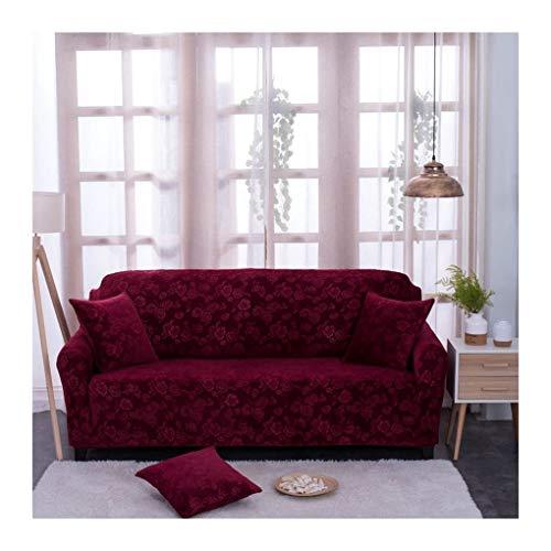 WUFANGFF Slipcover Vin Rouge Floral Motif Étirement Canapé Polyester Housse De Canapé Couvre Meubles Canapé, 3 Places