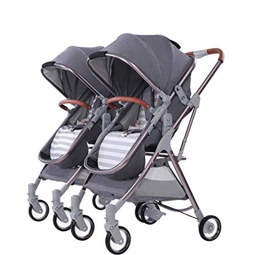 MLKARDUT Jogging-Kinderwagen, 5-Punkt-Sicherheitssystem, Kleinkind-Kinderwagen, Cabrio-Liegewagen Kompakter Doppelwagen mit verstellbarem Lenker und Ablagekorb (Color : Grey/Detachable)