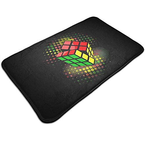ance Floor Rug Colorful Magic Cube Indoor Mat Non-Slip Flannel for Bedroom Bathroom Living Room Kitchen Home Decorative 19.5