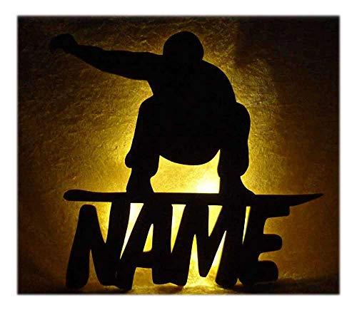 g1 urban Schlummerlicht24 Led Snowboard Zimmer Deko mit Name nach Wunsch, ideales Geschenk für Wintersportler und Snowboarder