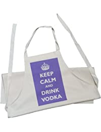 Keep Calm and Drink Vodka - Adult Apron - Natural (Cream) Cotton Drill