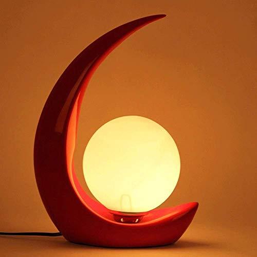 Red Art-glas-tisch-lampe (PoJu Tischlampe moderne Wohnzimmer E27 Lampe Nacht milchig-weißes Glas, beeindruckendes mondförmige Design, Schlafzimmer Showroom Fashion Creative Arts Deco-Hotel (Color : Red))
