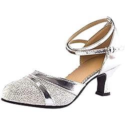 Zapatos de Tacones para Mujer Zapatos de Baile Latino Zapatos de tacón Fiesta Tango Salsa Zapatos de Baile Sandalias de Vestir Plateado 39