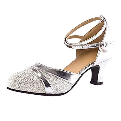 Deloito Damen Mode Elegant Ballsaal Tango Latein Salsa Tanzschuhe Party Hochzeit Sozial Pailletten Schuhe Weicher Boden Spitze Absätze Tanzschuh (Silber,40 EU) -