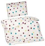 Aminata Kids Kinder-Bettwäsche 100-x-135 cm Stern-e Star Sternchen Baby-Bettwäsche 100-% Baumwolle Renforce pink hell-rosa blau Weiss Mädchen und Junge-n