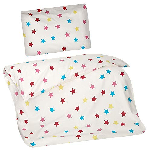 Rote Kinder-betten (Aminata Kids Baby-Bettwäsche-Set Sterne | 100-x-135-cm | Jungen, Mädchen | Kinder-Bettwäsche Stern-Motiv aus 100-% Baumwolle | bunt, Weiss | mit Marken-Reißverschluss & Öko-Tex)