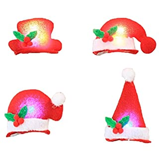 Ayouyou 4 Stück Weihnachts Geschenke Christmas Party Supplies Weihnachts haarnadel Licht Huthaarnadel (4 Spitze Hut) EINWEG Verpackung
