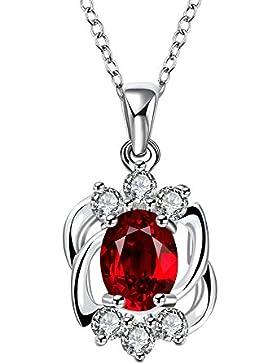 Sterling Silber überzogene Zirkonia-Rubin Anhänger Kristall Halskette für Frauen