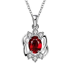 Collana di cristallo del pendente di zirconio cubo rubino argentato per i monili di modo delle donne