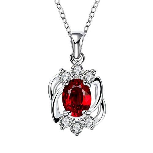 Plata de ley chapado en rojo rubí elementos de Swarovski colgante collar de cristal para las mujeres, 18